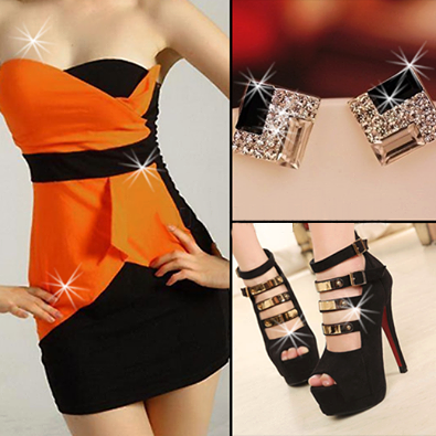 black-orange-evening-dress-combination