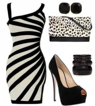 black-white-chic-evening-dress-combination