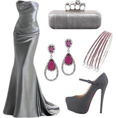 grey-evening-dress-combination