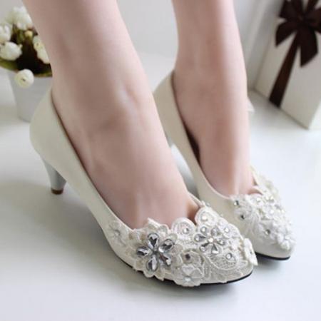 Women-Quality-4-5-font-b-Heel-b-font-White-Wedding-font-b-Shoes-b-font
