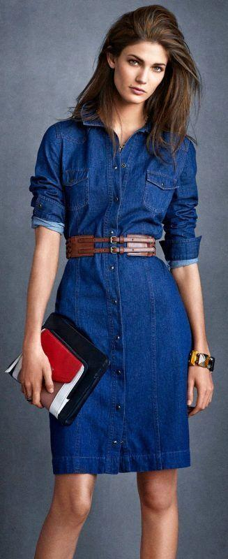 NEXT_Denim Shirt Dress £30_Weave Waist Belt £15_Bracelet £14_Colourblock Clutch £20