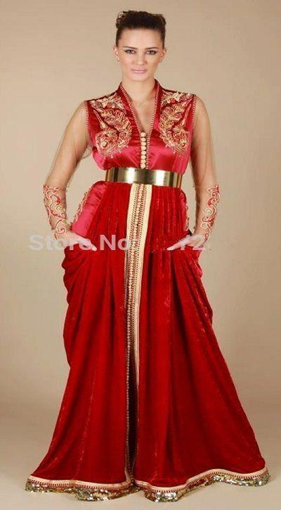 Robe-Arab-Dubai-Kaftans-Abaya-V-Neck-Sheer-Sleeve-Red-Velvet-Kaftan-Evening-Dresses-With-Gold