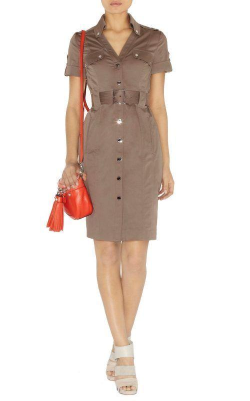 Signature-safari-style-belted-stretch-cotton-shirt-Dress-cocktail-formal-party-OL-Dress-DN122-Free-Shipping