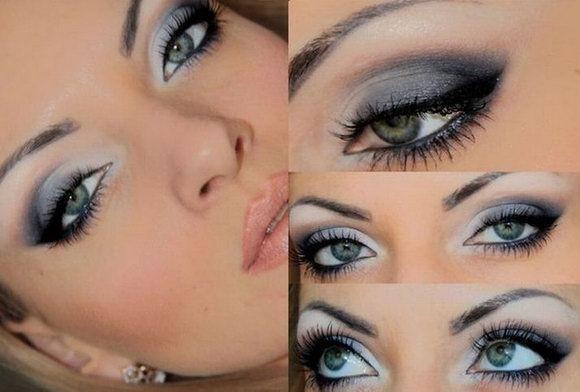 Фото макияжа и нанесения для серых глаз