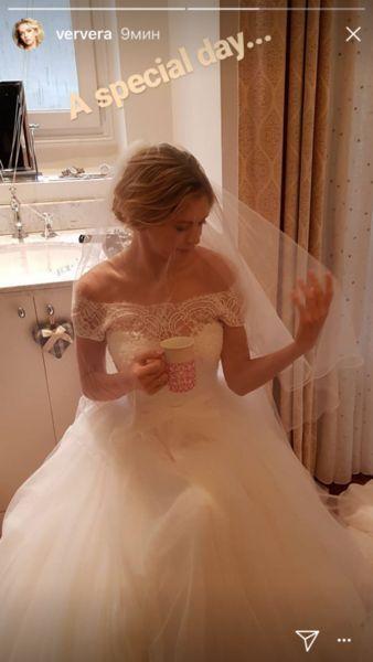 Вера Брежнева заинтриговала снимком в свадебном платье